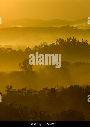 Golden colors of misty hilly area with ray of light - Stock Photo