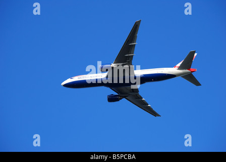 British Airways Boeing 777 taking off from Heathrow Airport, Greater London, England, United Kingdom - Stock Photo