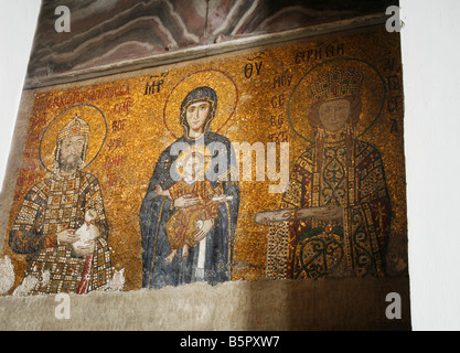 Mosaic of Virgin Mary and Infant Jesus Christ found in the old church of Hagia Sophia in Istanbul - Stock Photo