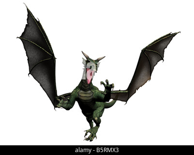 a flying dragon rendered with Bryce 6 - Stock Photo