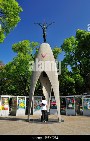 Japan, Hiroshima. A-Bomb, the childrens Peace Monument statue and Stock ...