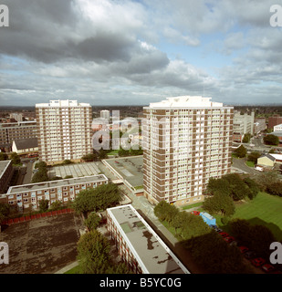 UK Cheshire Stockport Mottram Street flats elevated view of civic centre - Stock Photo