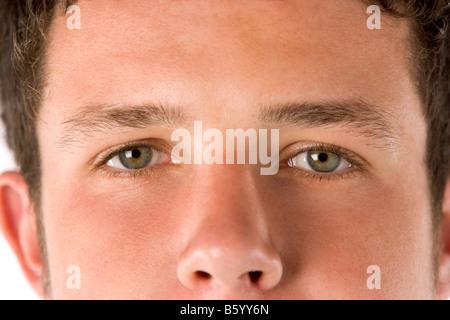 Close Up Teenage Boy's Eyes - Stock Photo