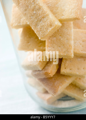 Jar of Shortbread Finger Biscuits - Stock Photo