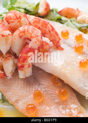 Fillets of Smoked Trout with Pickled Cucumber Caviar and Crayfish Tails - Stock Photo