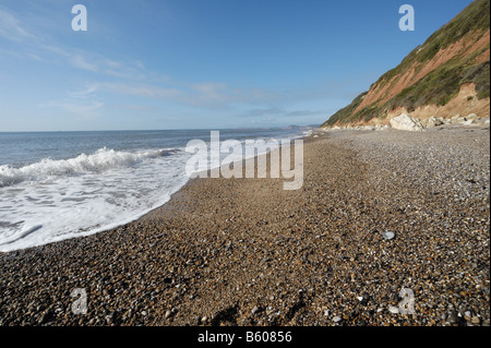 View along the pebble beach at Branscombe towards Sidmouth East Devon - Stockfoto
