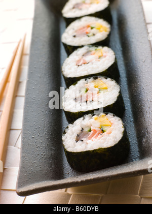 Large Spiral Rolled Sushi - Stock Photo