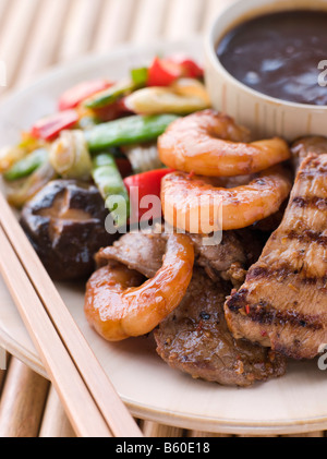 Teppanyaki- Meat and Fish Barbeque Grill - Stock Photo