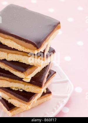 Chocolate Caramel Shortbread - Stock Photo