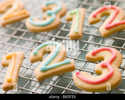 Number Shortbread Biscuits with Icing - Stock Photo