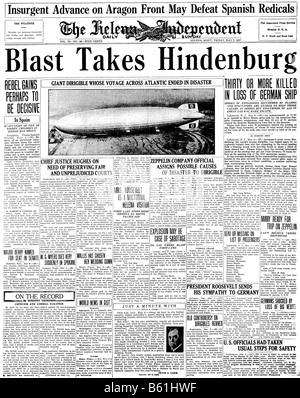 Front page of a 1937 US newspaper about the Hindenburg disaster - Stock Photo