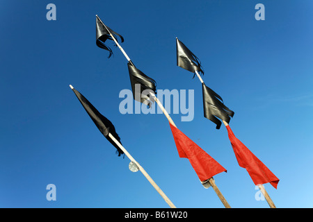 Red and black marking flags of a fishing boat, detail, Usedom Island, Baltic Sea, Mecklenburg-Western Pomerania, - Stock Photo