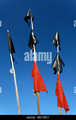 Black and red marking flags of a fishing boat, detail, Usedom Island, Baltic Sea, Mecklenburg-Western Pomerania, - Stock Photo