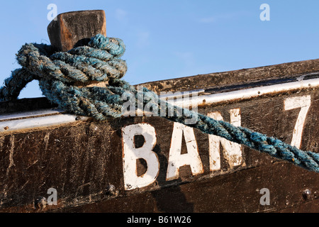 Rope tied to a fishing boat, Bansin resort, Usedom Island, Baltic Sea, Mecklenburg-Western Pomerania, Germany, Europe - Stock Photo