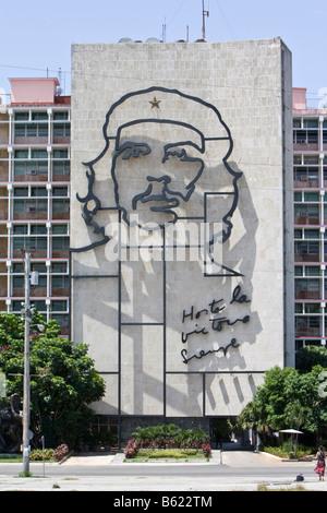 Interior ministry, picture of Che Guevara, Placa de la Revolucion Square, Havana, Cuba, Caribbean - Stock Photo