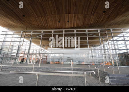 Facade of Welsh National Assembly Building at Cardiff Bay in Wales, United Kingdom - Stock Photo
