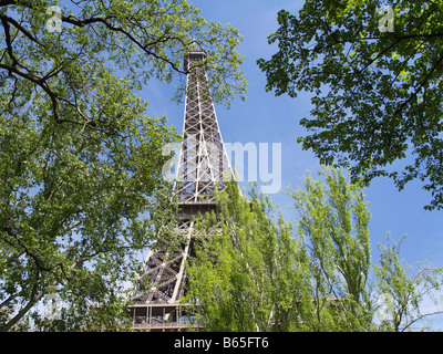 Eiffel Tower from nearby park - Stock Photo