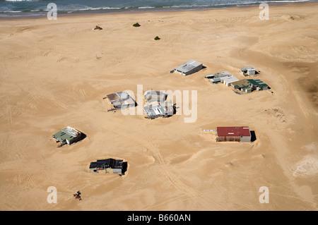Tin City fishing huts Stockton Beach Newcastle New South Wales Australia aerial - Stock Photo