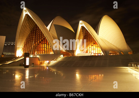 Sydney Opera House at Night Sydney New South Wales Australia - Stock Photo