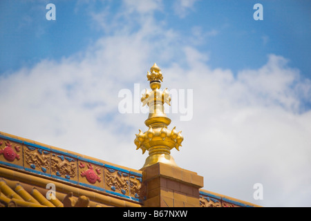 Low angle view of a sculpture on the roof of a temple, Da Zhao Temple, Hohhot, Inner Mongolia, China - Stock Photo