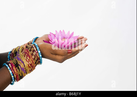 Indian girl offering a Nymphaea, Tropical waterlily flower in cupped hands against white background - Stock Photo