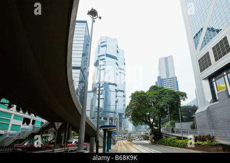 Low angle view of skyscrapers in a city, Des Voeux Road, Hong Kong Island, China - Stock Photo