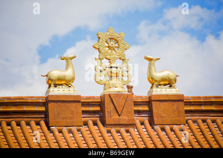 Low angle view of sculptures on the roof of a temple, Da Zhao Temple, Hohhot, Inner Mongolia, China - Stock Photo