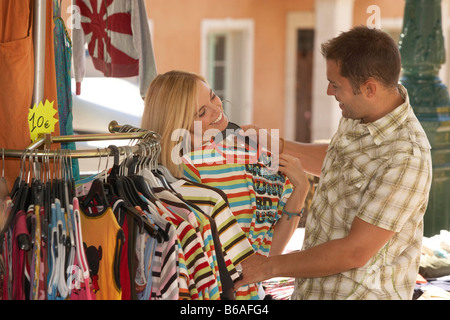 Couple shopping in market - Stock Photo