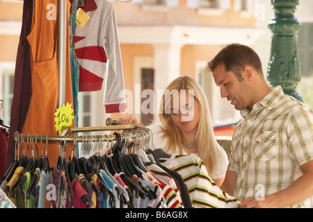 Couple shopping in french market - Stock Photo