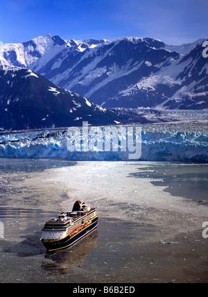 The cruise ship Summit at Hubbard Glacier in Alaska, USA - Stock Photo