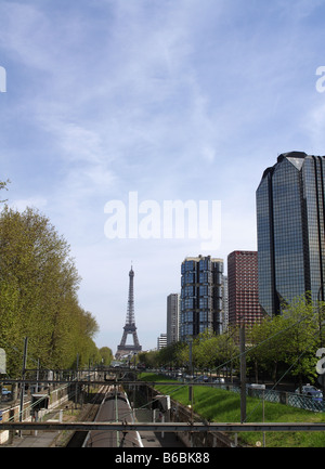 Eiffel Tower from Javel Station showing Paris Skyline - Stock Photo