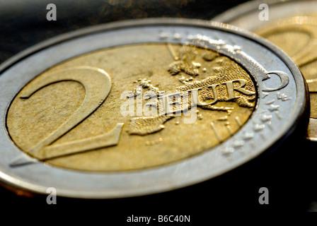 A TWO EURO COIN - Stock Photo