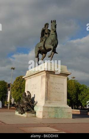 Place Bellecour and In the middle of the square is the equestrian statue of Louis XIV Vieux Lyon Old town France - Stock Photo
