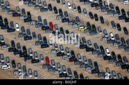 Aerial view of the delivery carpark for new Astra and Zafira vehicles at the Opel factory, Bochum, Ruhr Area, North - Stock Photo