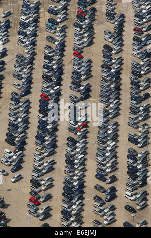 Aerial view of the delivery carpark for new Zafira vehicles at the Opel factory 1, Bochum, Ruhr Area, North Rhine - Stock Photo