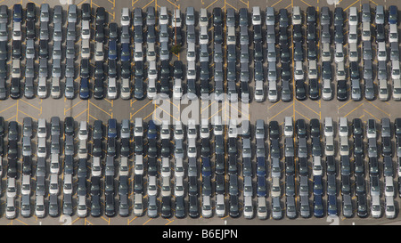 Aerial view of the delivery carpark for new Zafira vehicles at the Opel factory, Bochum, Ruhr Area, North Rhine - Stock Photo