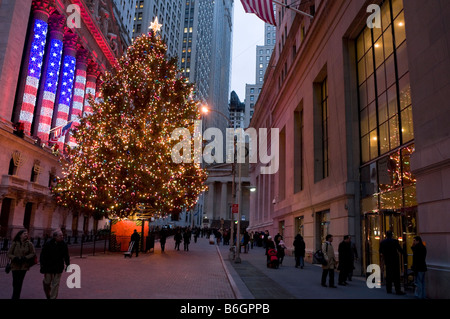 New York NY 12 December 2008 Wall Street at Christmas time - Stock Photo