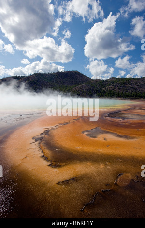 Grand Prismatic Spring, Midway Geyser Basin, Yellowstone National Park; Wyoming; USA - Stock Photo