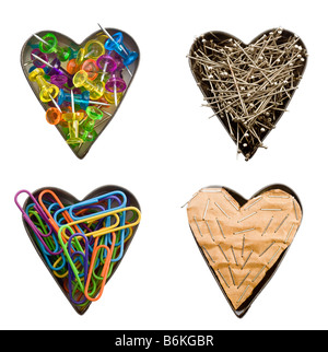 four heart shapes with office elements - Stockfoto