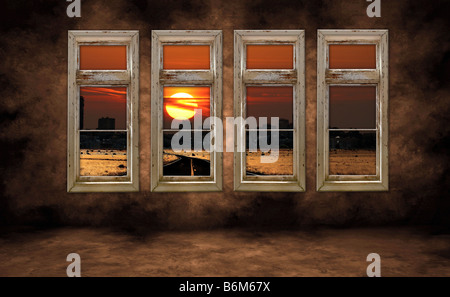 Spooky City View at Sunrise Through Grungy Distressed Windows - Stock Photo