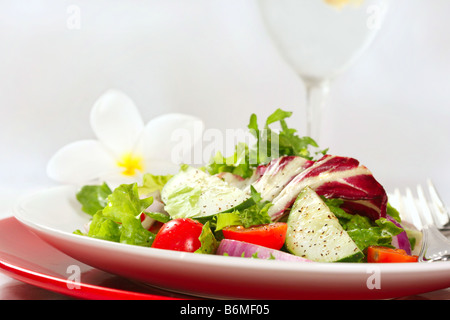 Healthy Salad With Cherry Tomatoes Cucumber and Red Onion on White Background - Stock Photo