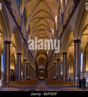 Salisbury Cathedral interior Picture by Andrew Hasson December 5th 2008 - Stock Photo