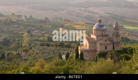 The Church of the Madonna di San Biagio in Tuscany Italy viewed from above o show the colourful blue dome and showing - Stock Photo