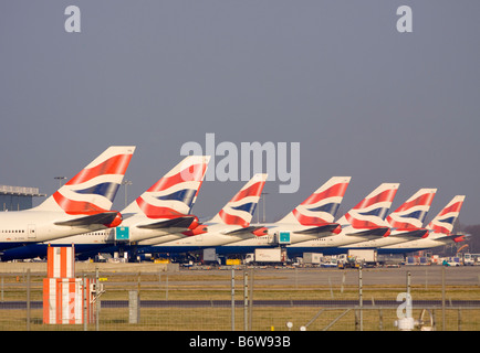 British Airways aircraft tail fins London Heathrow airport - Stock Photo