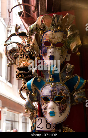 carnival masks for sale in the street, Venice, Italy - Stock Photo