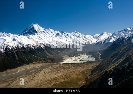 New Zealand, South island, Mount Cook National Park, Tasman Glacier Terminal Lake. - Stock Photo