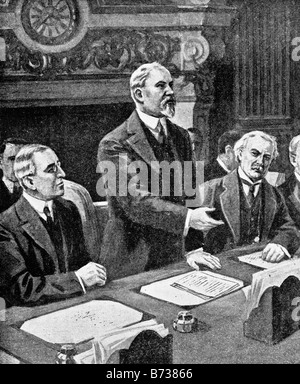 Contemporary World War One illustration of Allied leaders at the formal opening of the Paris Peace Conference in - Stock Photo