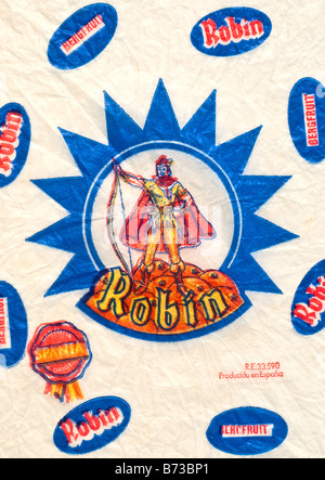 Printed ephemera / Citrus fruit wrapper from Spain - Robin Hood illustration on tissue paper. - Stock Photo