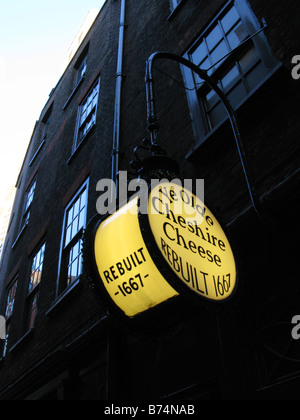 Lit sign above the doors of 'Ye Olde Cheshire Cheese' pub in London - Stock Photo