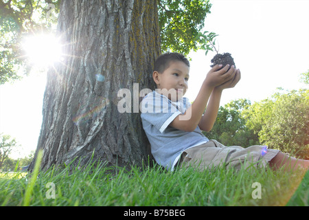 Six year old boy holds small tree, seated beside large tree, Winnipeg, Canada - Stock Photo